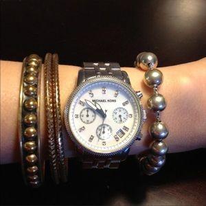 Mk silver watch with diamonds